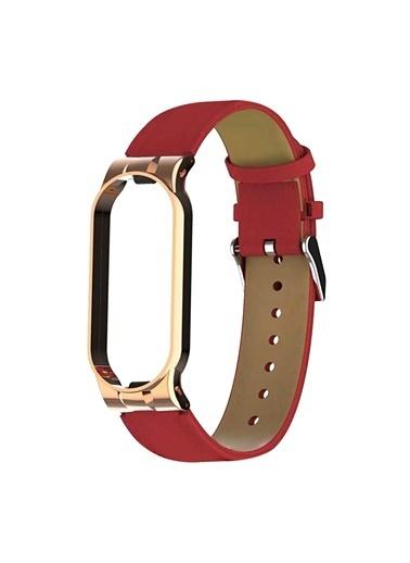 Microsonic Xiaomi Mi Band 6 Kordon Leather Wrist Strap Beyaz Kırmızı